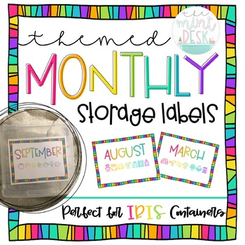 Simple Rainbow Monthly Storage Labels! Perfect for IRIS Containers!