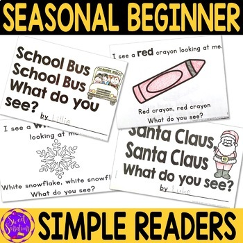 Simple Emergent Reading Booklets for Kindergarten and Pre-K bundle