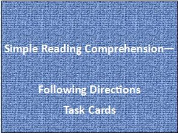 Simple Reading Comprehension - Following Directions Task Cards