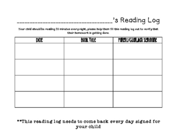 Simple Reading Log for 1st Grade and up