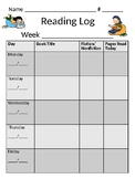Simple Reading Log Homework with Questions for Accountability (editable)
