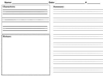 Simple Reading Summary Sheet
