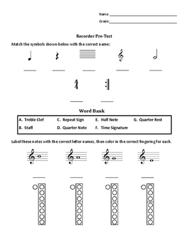 Simple Recorder Pre/Post Test