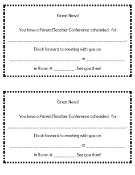 Simple Reminder Notes to send home! (P/T Conferences, Special Days, etc)