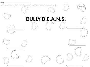 Simple Response Sheet to use after Reading Bully B.E.A.N.S