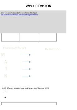 Simple Revision Worksheet - WW1 - Gallipoli & ANZAC's