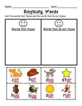 Simple Rhyming Worksheets Freebie