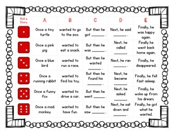 Simple Roll-A-Story for Young Writers FREEBIE!