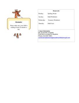 Simple Safari Classroom Newsletter