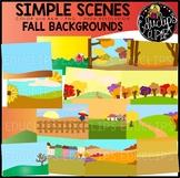 Simple Scenes - Fall Backgrounds Clip Art Set {Educlips Clipart}