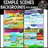 Simple Scenes - Seasonal Backgrounds Big Bundle {Educlips Clipart}