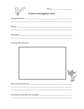 Science Experiment Investigation Form Elementary Worksheet