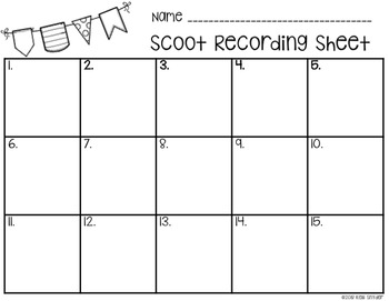 Simple Scoot Recording Sheet