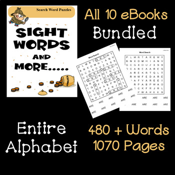 Simple Search Word Puzzles for Sight Words Plus - 10 Books Bundled All Letters
