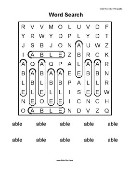 Simple Search Word Puzzles for Words that begin with A - Sight Word Printables