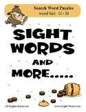 Simple Search Word Puzzles for Words that begin with G H -