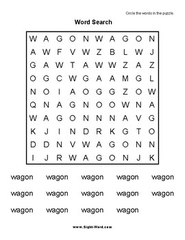 Simple Search Word Puzzles for Words that begin with W X Y Z Sight Words