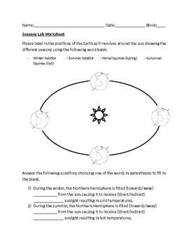 Simple Seasons Worksheet