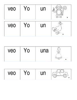 Simple Sentence Building Worksheet in Spanish