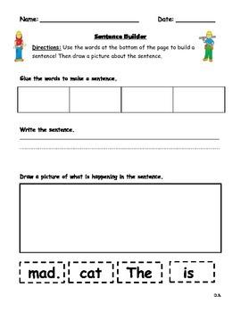 Simple Sentence Building Worksheets