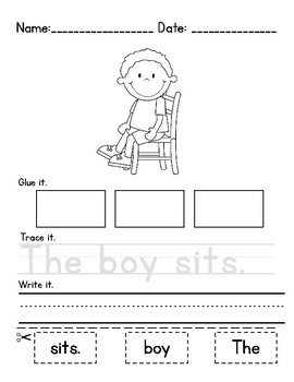 simple sentence building worksheets by yelena amundsen tpt. Black Bedroom Furniture Sets. Home Design Ideas