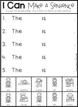 Simple Sentence Cut & Paste Sheets - NO PREP