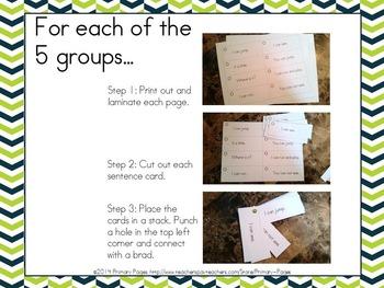 Simple Sentence Fluency Fans (Pre-primer through third)