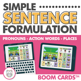 Simple Sentence Formulation Using WH Questions Boom Cards for Speech Therapy