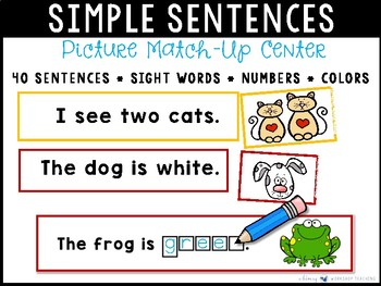 Simple Sentence Match Up or Write and Wipe Literacy Center