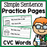 Simple Sentence Practice Strips - CVC Words