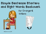 Simple Sentence Starters and Sight Word List for Emergent Writers