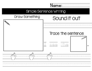 Simple Sentence Writing with Sight Words Set A