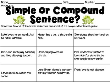 Simple Sentence or Compound Sentence?