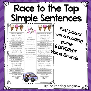 Simple Sentences Game Boards - Race to the Top