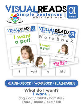 Simple Sentences I. 01 I want (pets). Reading Book+Workbook+Flashcards