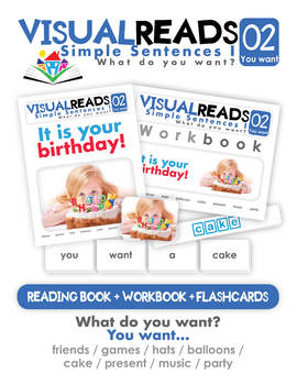 Simple Sentences I. 02 You want (party). Reading Book+Workbook+Flashcards