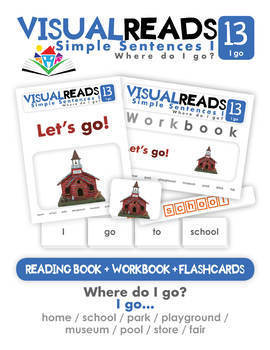 Simple Sentences I. 13 I go (places). Reading Book+Workbook+Flashcards