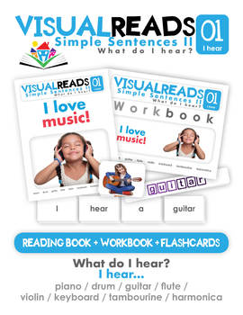 Simple Sentences II. 01 I hear (instruments). Reading Book+Workbook+Flashcards