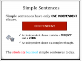 Simple Sentences: Identify and Write Them (PowerPoint)