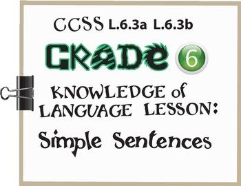 Simple Sentences Lesson/Activity Grade 6 CCSS Knowledge of Language