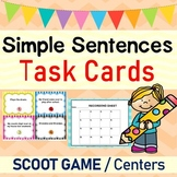 Simple Sentences Grammar Task Cards / SCOOT Game / Centers