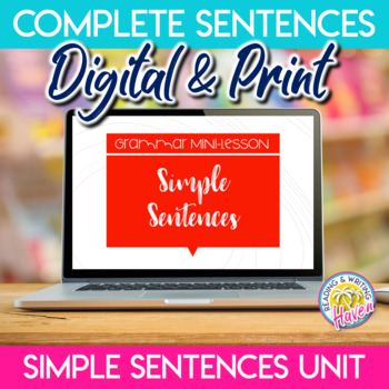 Simple Sentences Sentence Type Grammar Mini Unit for Middle or High School