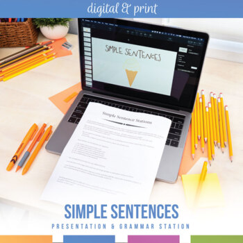 Simple Sentences Stations and Powerpoint - Review Subjects and Predicates