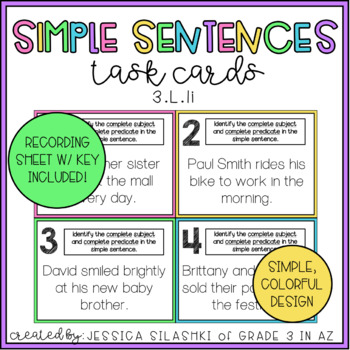 Simple Sentences Task Cards