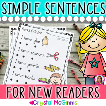 Simple Predictable Sentences for Beginning Readers (15 Practice Pages)