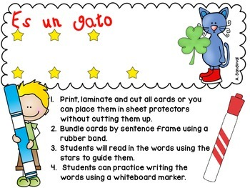 Simple Sentences for Guided Reading in Spanish-MARCH Lectura guiada