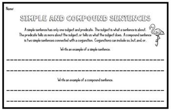 Simple Sentences vs. Compound Sentences - 3rd Grade Grammar Assessments