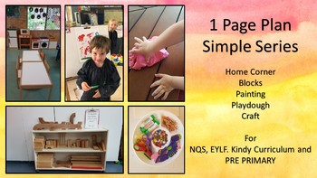 Simple Series of 1 page plans for NQS, EYLF, Kindy AND Pre Primary