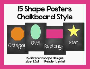 Simple Shape Printable Posters-8.5x11-Chalkboard Style