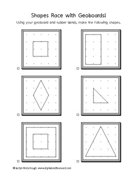 Simple Shapes Race with Geoboards!  Aligned with Common Core Geometry Standards